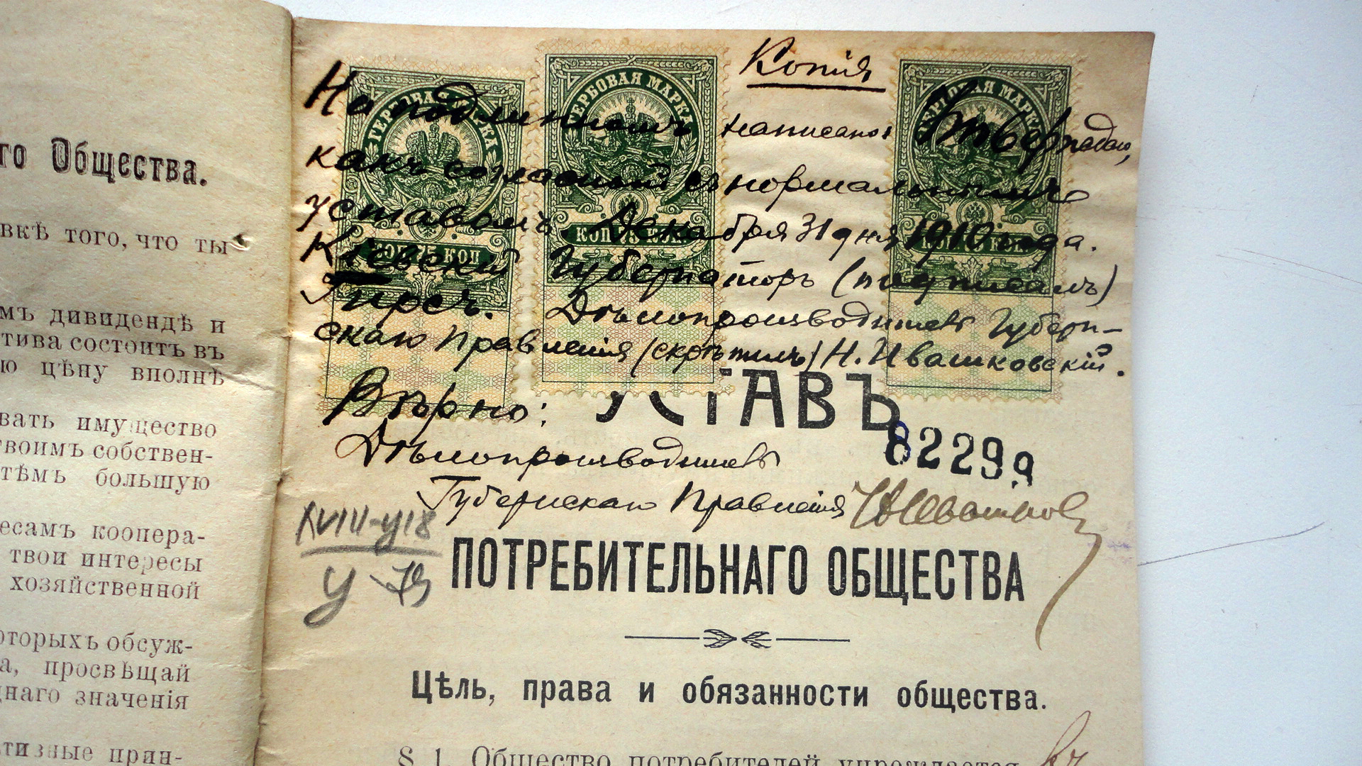Копія Уставу споживчого товариства села Гопчиця 1910 року