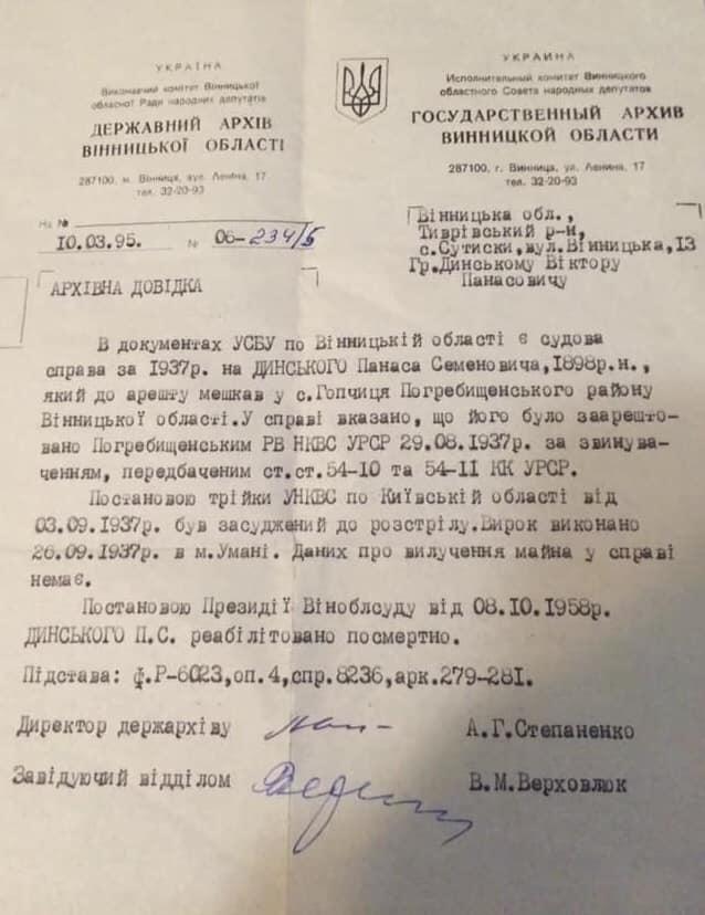 Панаса Динського було реабілітовано постановою президії Вінницького обласного суду 8 жовтня 1958 року!